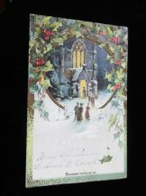 ANTIQUE CHRISTMAS POSTCARD POSTED NY USA 1 CENT STAMP 1906 DENNISON'S